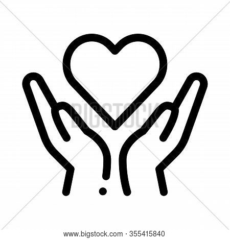 Hands Hold Heart Icon Vector. Outline Hands Hold Heart Sign. Isolated Contour Symbol Illustration
