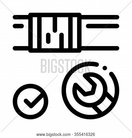 Fixed Pipe Wrench Icon Vector. Outline Fixed Pipe Wrench Sign. Isolated Contour Symbol Illustration