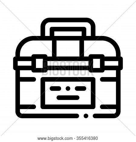 Toolbox Case Icon Vector. Outline Toolbox Case Sign. Isolated Contour Symbol Illustration