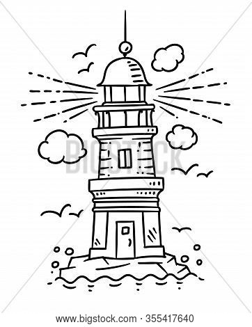 Lighthouse Building On The Rock. Vector Illustration