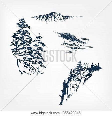 Mountains Set Design Elements Vector Sketch Illustration Japanese Chinese Oriental Line Art Design E