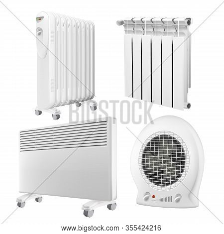 Heater Radiator Appliance Collection Set Vector. Wall Radiator And Electrical Oil-filled Device, Con