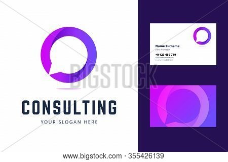Logo And Business Card Template For Consulting, Support And Chat Services. Vector Illustration In Gr