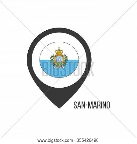 Map Pointers With Contry San-marino. San-marino Flag. Stock Vector Illustration Isolated On White Ba