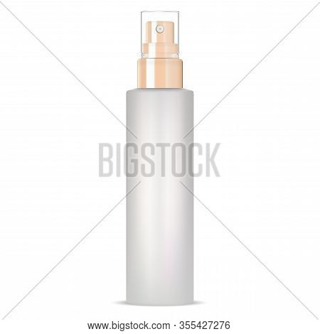 Cosmetic Spray Mockup. Aerosol Container Isolated On White Background. Realistic Pump Package Blank