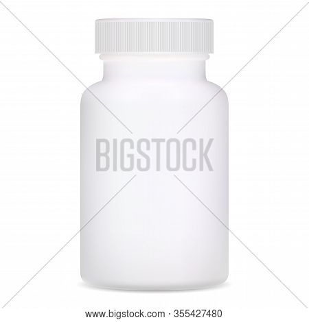 Medical Bottle. White Plastic Supplement Package Design. Realistic Template Of Pharmacy Remedy Pill