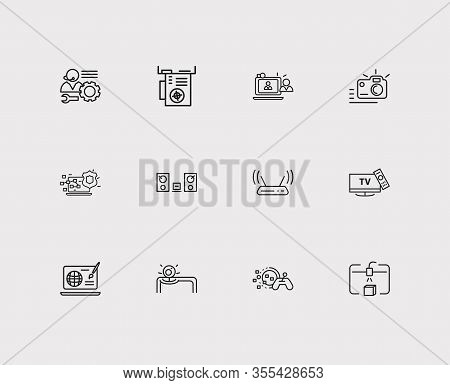 Electronics Icons Set. Steamroller And Electronics Icons With Cyber Security, Video Chat And Video C