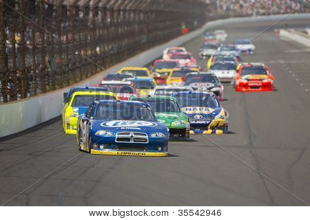 INDIANPOLIS, IN - JUL 29, 2012:  Brad Keselowski (2) brings his car down the front stretch during the Curtiss Shaver 400 race at the Indianapolis Motor Speedway in Indianapolis, IN on Jul 29, 202