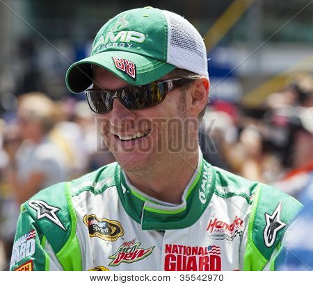 INDIANPOLIS, IN - JUL 29, 2012: Dale Earnhardt, Jr. (88) prepares to race the Sprint Cup Series race at the Indianapolis Motor Speedway in Indianapolis, IN on Jul 29, 2012.