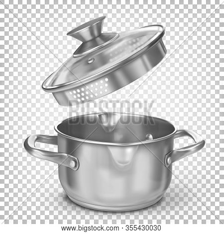 Metal Chrome Vector Kitchen Stockpot For Soup With The Lid Open. 3d Realistic Illustration Isolated