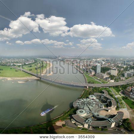 Panoramic Picture Of River Rhine Und DüSseldorf, Large Size
