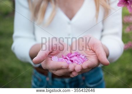 Young Pretty Woman In Garden With Pink Blossoms