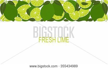 Vector Fresh Lime Template. Healthy Eating With Fruits For A Healthy Lifestyle.