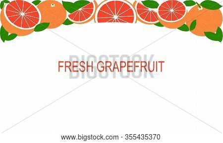 Vector Fresh Red Grapefruit Template Suitable For Banners, Magazines, Websites, Restaurants And Menu