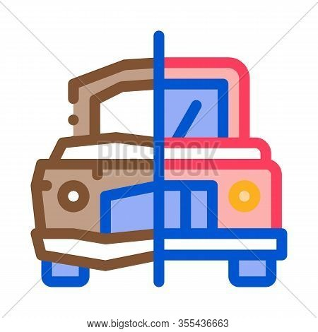Crashed And Fixed Icon Vector. Outline Crashed And Fixed Sign. Color Isolated Contour Symbol Illustr