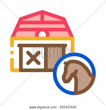 Stable Building Icon Vector. Outline Stable Building Sign. Isolated Contour Symbol Illustration