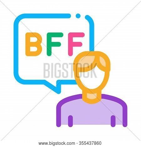Human Talking Bff Icon Vector. Outline Human Talking Bff Sign. Isolated Contour Symbol Illustration