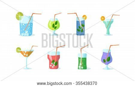 Set Of Cocktails. Vitamin Drink. Smoothie From Organic Ingredients Or Cocktails With A Drinking Stra