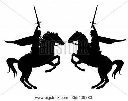 Medieval Hero Knight Holding Sword Riding Rearing Up Horse Black Vector Silhouette Outline