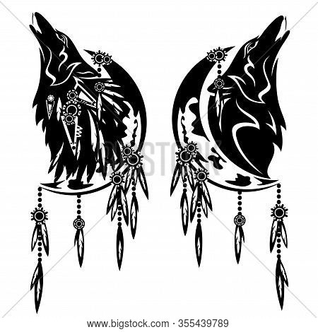 Howling Wolf And Crescent Moon - Tribal Style Feathered Dream Catcher Black And White Vector Design