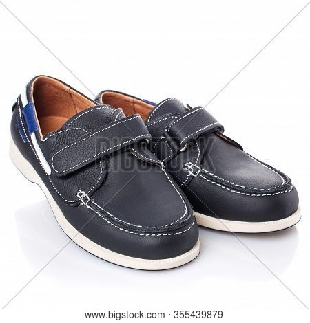 Childrens Black Leather Shoes For Boys Isolated On White