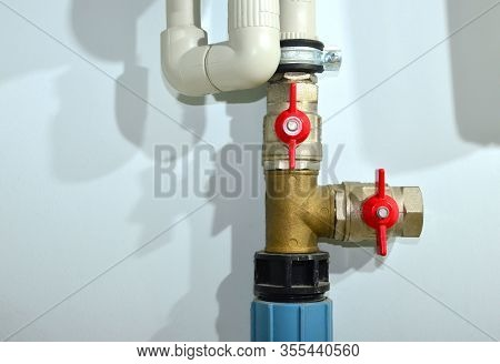 Piping And Plumbing Fitting In The Home Industry Of The Modern Era. Connecting Pipe Warm Water Floor