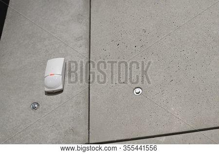 Wireless Thief Movement Alarm On Wall In Room. Pir Motion Detector Indoor. Sensor Intelligent Anti-p