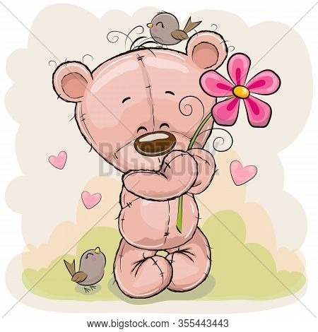 Greeting Card Cute Cartoon Teddy Bear With Flower And Birds