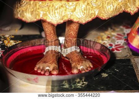 Bride Foot Home Entry In Hinduism  , Indian Wedding