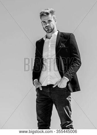 Bearded Guy Business Style. Sexy Macho Man. Male Grooming. Formal Male Fashion. Modern Lifestyle. Co