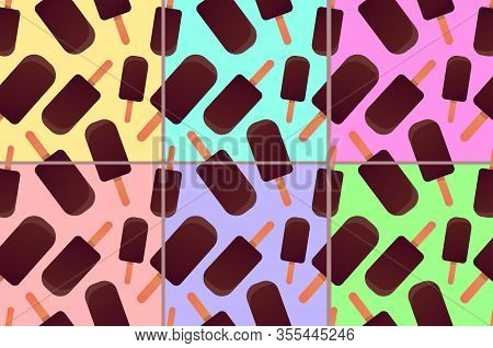 Vector Seamless Pattern With Colorfull Icecreams Or Eskimos On Different Bright Backgrounds