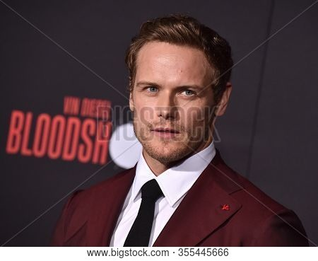 LOS ANGELES - MAR 10:  Sam Heughan arrives for 'Bloodshot' World Premiere on March 10, 2020 in Westwood, CA