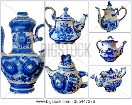 Photo Collage Of Kettles  In Russian Traditional Gzhel Style On A White Isolated Background. Gzhel-r