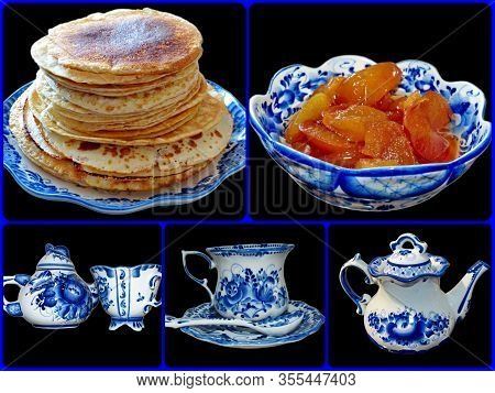 Photo Collage Of Cookware In Russian Traditional Gzhel Style On A Black Isolated Background. Gzhel-r