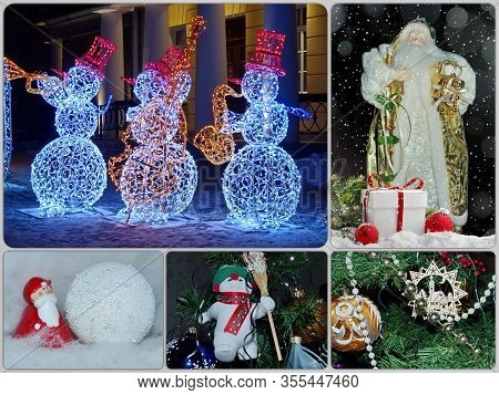 Photo Collage For The New Year And Christmas. Festive Background. The Concept Of New Year And Christ