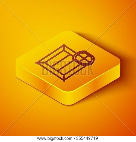 Isometric Line Delivery Pack Security With Shield Icon Isolated On Orange Background. Delivery Insur