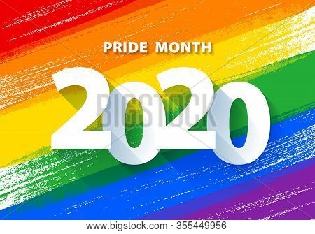 Pride Month 2020 Poster With Rainbow Lgbt Flag Vector Background.