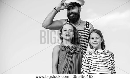 Travel Around World. Travel By Sea. Summer Travel Concept. Happy Family. Dad Sailor And Daughters Ou