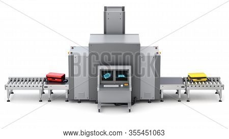Side View Of Airport Security Checkpoint With X-ray Baggage Scanner And Metal Detector Gate - 3d Ill
