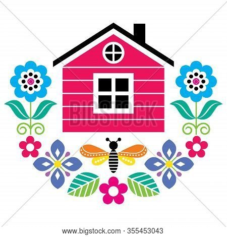 Scandinavian Folk Art Vector Cute Floral Pattern With Finnish Or Norwegian House, Greeting Card With