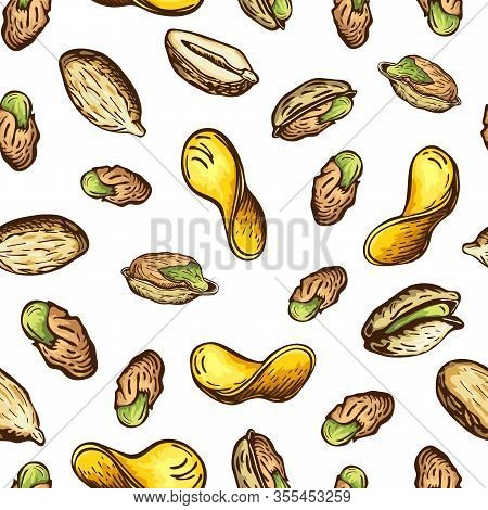 Seamless Nuts And Fried Potato Chips Pattern Isolated On White. Bright Snack Background In Vintage S