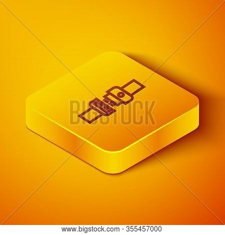 Isometric Line Safety Belt Icon Isolated On Orange Background. Seat Belt. Yellow Square Button. Vect
