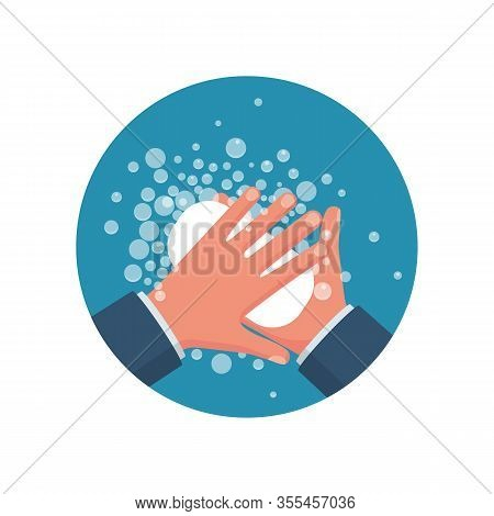 Wash Hands. Man Holding Soap In Hand In Soap Bubbles. Vector Illustration Flat Design Isolated On Ba