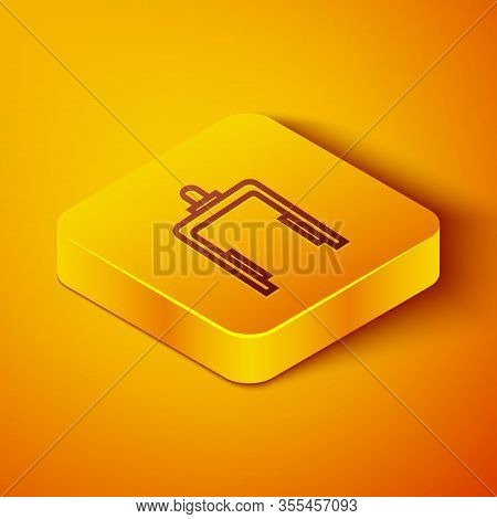 Isometric Line Metal Detector In Airport Icon Isolated On Orange Background. Airport Security Guard