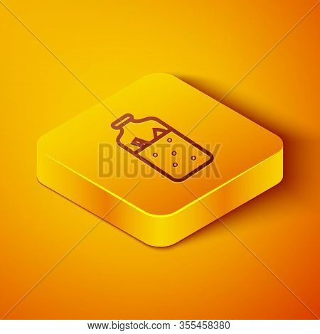 Isometric Line Mulled Wine With Ingredients Icon Isolated On Orange Background. Cinnamon Stick, Clov