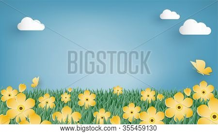Cute Background Design For Summer Or Spring Season Of The Meadow With Yellow Flowers And Butterfly O