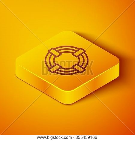 Isometric Line Lifebuoy Icon Isolated On Orange Background. Life Saving Floating Lifebuoy For Beach,