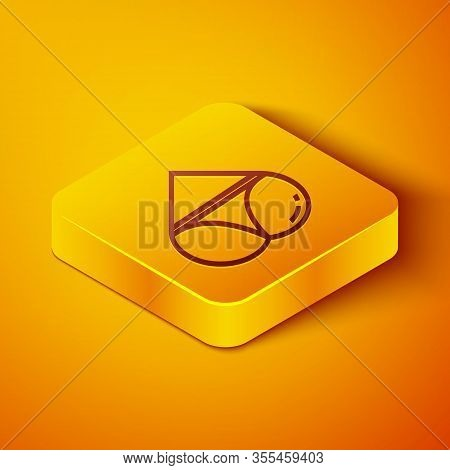 Isometric Line Womens Booty In A Heart Shape With Panties On It Icon Isolated On Orange Background.