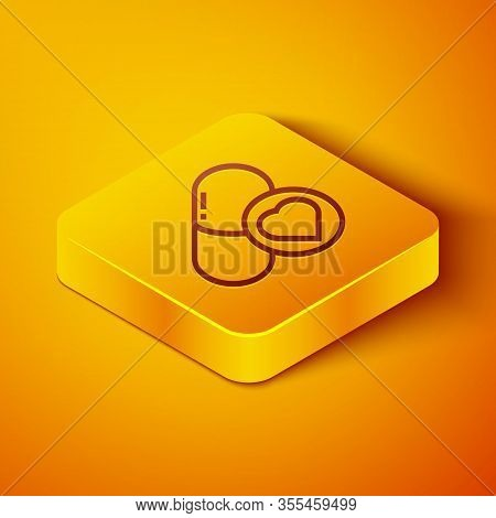 Isometric Line Pills For Potency, Aphrodisiac Icon Isolated On Orange Background. Sex Pills For Men