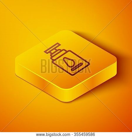 Isometric Line Personal Lubricant Icon Isolated On Orange Background. Lubricating Gel. Cream For Ero